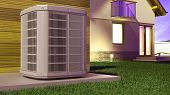 Air Heat Pump And House 3d Illustration poster