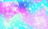 Fantasy Universe. Unicorn Pattern. Fairy Background. Mermaid Rainbow. Holographic Magic Stars. Cover poster