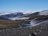 Landscape Of Fimmvorduhals Hiking Trail. Eyjafjallajokull Glacier And Volcano, Lava Ash, Blue Stream poster