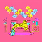 Illustration Of Cute Leopard In Neon Pop Colors, On A Sofa In An Art Deco Interior. Memphis Pop Back poster
