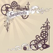 Banner and corner frame design made from steam engine parts. Steampunk styled vector illustration.