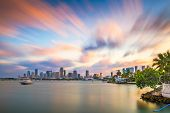 Miami, Florida, USA downtown skyline on Biscayne Bay in early evening. poster