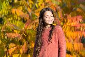 Autumn Puts Her In Good Mood. Happy Small Girl In Autumn Mood Outdoors. Little Child Play On Fresh A poster