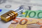 Golden Security Digital Password Lock Key On Euro Banknotes : Finance Security Concept. poster