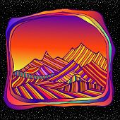 Psychedelic Surreal Landscepe With Colorful Mountains, Isolted In Space And Stars Bacground. Retro H poster