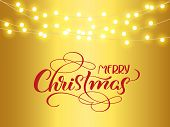 Christmas Red Decoration On Golden Background. Merry Christmas And Text. Hanging Glitter Garlands St poster