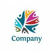 People Community Colorful Logo Template. Teamwork Community Symbol poster