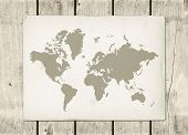 Antique Vintage World Map Parchment On A Wooden Wall poster