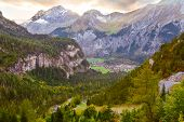 Aerial Sunser Panorama Of Kandersteg Village, Canton Bern, Switzerland, Europe, Autumn Trees And Mou poster