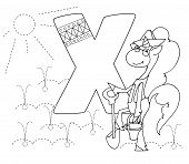 Letter X And Funny Cartoon Unicorn. Animals Alphabet A-z. Coloring Page. Printable Worksheet. Handwr poster