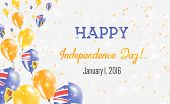 Turks And Caicos Islands Independence Day Greeting Card. Flying Balloons In Turks And Caicos Islands poster