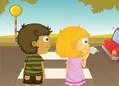 image of street-walker  - Illustration of boy and girl crossing the street - JPG