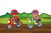 Illustration of people racing dirtbikes