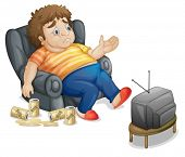 foto of fat-guts  - Fat and unhealthy man watching tv - JPG
