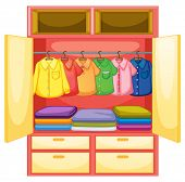 Wardrobe with clothes on white - EPS VECTOR format also available in my portfolio.