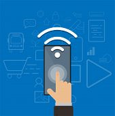 Hand Touch Mobile Phone Open Wifi Connection,control Technology Wifi,smart Connection Technology,rem poster