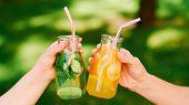 Healthy Lifestyle. Organic Detox Drink. Women Drink Fresh Natural Lemonade To Wellbeing. poster