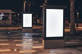 Street Advertising Mockup Template With Copy Space. Two Outdoor Commercial Banners With White Empty  poster