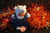 A Mouse Next To New Year Tinsel And Led Lights. A Symbol Of Wealth, Wealth And 2020 On The Chinese C poster