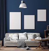 Dark Blue Scandinavian Home Interior With Retro Furniture, Poster Wall Mock-up In Living Room, 3d Il poster