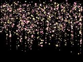 Pink Gold Confetti Circle Decoration For Christmas Card. Bokeh Lights Effect Vector. Gold, Pink And  poster