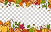 Autumn Landscape. Autumn Background With Dry Leaf Decoration, Autumn Theme Vector Illustration Desig poster