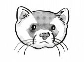 Retro Cartoon Mono Line Style Drawing Of Head Of A Black-footed Ferret, American Polecat Or Prairie  poster