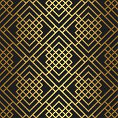 Golden Texture. Seamless Geometric Thin Lines Pattern. Golden Pictogram Background. Vector Seamless  poster