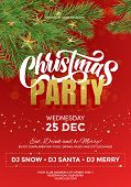 Christmas Party Celebration Template, Flyer, Poster, Banner. Red Background With Christmas Decoratio poster