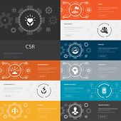 Csr Infographic 10 Line Icons Banners.responsibility, Sustainability, Ethics, Goal Simple Icons poster