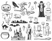 Halloween Sketches With Vector Horror Ghost, Pumpkin And Witch, Dracula Vampire, Bat And Black Cat,  poster