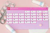 Tampon, Feminine, Sanitary Pads For Critical Days, Feminine Calendar, Pain Pills During Menstruation poster