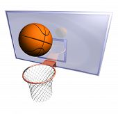 picture of netball  - Illustration of a basketball hoop and a basketball ball at a bluish background - JPG