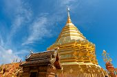 Wat Phra That Doi Suthep With Blue Sky In Chiang Mai. The Attractive Sightseeing Place For Tourists poster