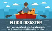 Flood Disaster Concept Banner. Flat Illustration Of Flood Disaster Vector Concept Banner For Web Des poster