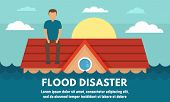 Water Flood Disaster Concept Banner. Flat Illustration Of Water Flood Disaster Vector Concept Banner poster