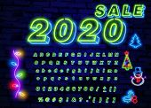 Green Neon Font. Neon Light 3d Alphabet, Extra Glowing Font. Exclusive Swatch Color Control. poster
