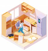 Vector Isometric New Kitchen Furniture Set Assembling And Installation. Handyman Or Carpenter Workin poster