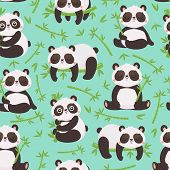 Panda And Bamboo Seamless Pattern. Cute Pandas Animals, Wild Bamboo Forest Bear And Sleeping Baby Pa poster