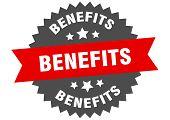 Benefits Sign. Benefits Red-black Circular Band Label poster