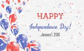 Australia Independence Day Greeting Card. Flying Balloons In Australia National Colors. Happy Indepe poster
