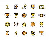 Prize Line Icons. Trophy Medal And Winner Cup Symbols, Lottery Prize And Competition Award. Vector C poster