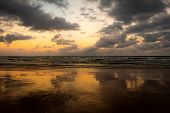 Coastal Landscape During Sunset. Beautiful Reflections In The Water. poster