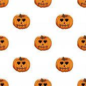 Illustration On Theme Big Colored Pattern Halloween, Seamless Orange Pumpkin. Seamless Pattern Consi poster