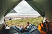 Pov View Of Hipster Tourist Inside Tent On Front Of Mountains And Sea. Adventure Travel Lifestyle Wa poster