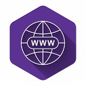 White Go To Web Icon Isolated With Long Shadow. Www Icon. Website Pictogram. World Wide Web Symbol.  poster