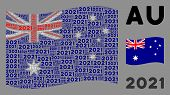 Waving Australia Flag. Vector 2021 Year Text Design Elements Are Organized Into Conceptual Australia poster
