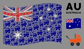 Waving Australia Flag. Vector Baby Carriage Elements Are Combined Into Conceptual Australia Flag Col poster