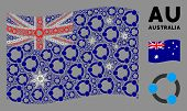 Waving Australia Flag. Vector Cooperation Design Elements Are Organized Into Mosaic Australia Flag I poster