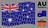 Waving Australia State Flag. Vector First Aid Toolbox Pictograms Are Organized Into Geometric Austra poster